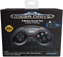 Controller Wireless, schw., retro-bit - Mega Drive/PC/Switch