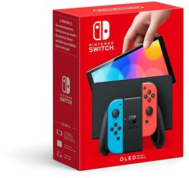 Grundgerät Nintendo Switch, 64GB, OLED, rot/blau