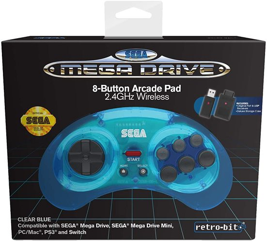 Controller Wireless, blau, retro-bit - Mega Drive/PC/Switch .